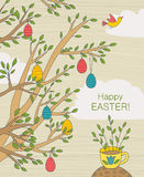 Easter Greeting Card With Colorful Eggs On Branches Royalty Free Stock Photography