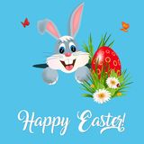 Easter greeting card with colorful eggs and bunny. Stock Photo