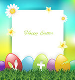 Easter greeting card with colorful eggs Royalty Free Stock Photo