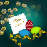 Easter greeting card with colorful eggs Royalty Free Stock Image