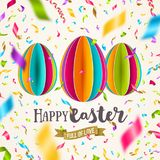 Easter greeting card - colorful paper eggs and confetti. Easter greeting card - colorful paper eggs and multicolored confetti. Vector illustration Stock Images