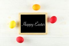 Easter greeting card concept. Festive composition on wooden background vector illustration