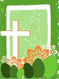 Easter greeting card with cross and eggs Stock Photo