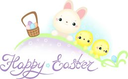 Easter Greeting Card with Cute Easter Bunny and Chickens Royalty Free Stock Photo