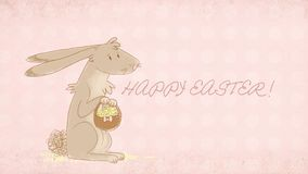 Easter greeting card with cute bunny illustration Stock Photography