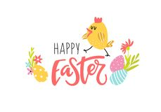 Easter background with flowers and chicken vector illustration