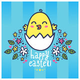 Easter greeting card with a cute chicken in the egg Royalty Free Stock Photo