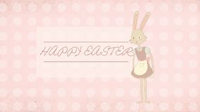 Easter greeting card with cute bunny illustration Royalty Free Stock Image