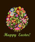 Easter greeting card with decorative colorful floral egg Royalty Free Stock Images