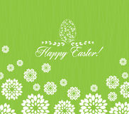 Easter greeting card with decorative egg on green background Royalty Free Stock Photos