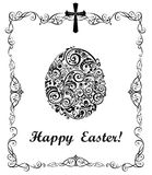 Easter greeting card with decorative floral egg black and white Stock Images