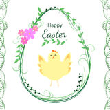 Easter greeting card design. Happy Easter. Floral egg with chick. Vector illustration Stock Photo