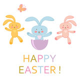 Easter greeting card with Easter bunnies Royalty Free Stock Photography