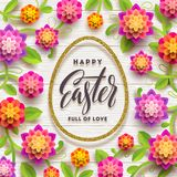Easter greeting card. Easter calligraphic greeting in glitter gold egg-shaped frame and paper flowers. Easter greeting card. Easter calligraphic greeting in Royalty Free Stock Image