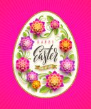 Easter greeting card - Easter egg-shaped floral frame with greeting. Vector illustration. Easter greeting card - Easter egg-shaped floral frame with Stock Images