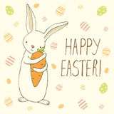 Easter greeting card with easter eggs and bunny doodles. Hand le Stock Image
