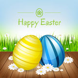 Easter greeting card. Easter eggs, flowers and green grass Stock Images