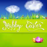 Easter greeting card with Easter eggs and handwritten text vector illustration