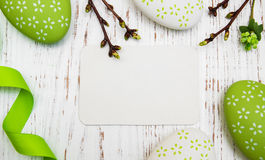 Easter greeting card with easter eggs Stock Image