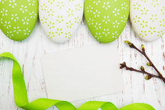 Easter greeting card with easter eggs Royalty Free Stock Images