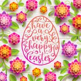 Easter greeting card. Easter greeting in egg shape frame and flowers. Easter greeting card. Easter greeting in egg shape frame and paper flowers on a white plank Stock Photography