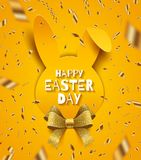 Easter greeting card. Paper silhouette of rabbit head, glitter ribbon bow and golden confetti. Easter greeting card. Easter greeting on a paper silhouette of Royalty Free Stock Photo