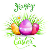 Easter greeting card with Easter rabbit, Easter eggs and original handwritten text Happy Easter stock illustration