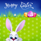 Easter greeting card with Easter rabbit, Easter eggs  Stock Images