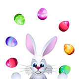 Easter greeting card with Easter rabbit, Easter eggs vector illustration