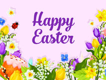 Easter greeting card with egg, cake and flower Royalty Free Stock Photo