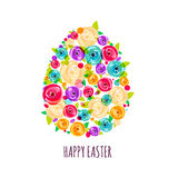 Easter greeting card with egg made from colorful abstract rose flowers. Stock Photography