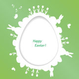 Easter greeting card with egg and rabbit, bird Stock Photo