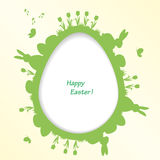 Easter greeting card with egg, rabbit, bird, tulip Royalty Free Stock Photography