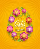 Easter greeting card - Easter egg-shaped floral frame with greeting. Easter greeting card - Easter egg-shaped floral frame with calligraphic greeting Royalty Free Stock Photo