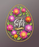 Easter greeting card - Easter egg-shaped glitter gold frame with brush calligraphy greeting and flowers. Stock Photos