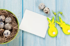 Easter greeting card with eggs and decor Royalty Free Stock Photography