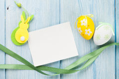 Easter greeting card, eggs and decor stock photography
