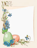 Easter greeting card with eggs, paper, flowers on beige background. Stock Image