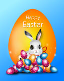 Easter greeting card with eggs and rabbit Royalty Free Stock Images