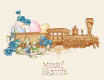Easter greeting card with eggs, train, flowers on beige background. Royalty Free Stock Photography