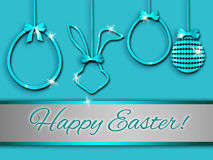 Easter greeting card, elegant,abstract, turquoise. Easter illustration, background with 3d elements Stock Photography