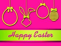 Easter greeting card, elegant,  golden elements. Easter illustration, background with 3d elements Stock Photography
