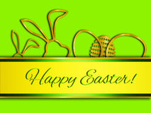 Easter greeting card, elegant. Happy easter illustration with 3d golden elements Royalty Free Stock Photography