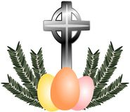 Easter greeting card with eggs and olive branches Royalty Free Stock Photography
