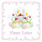 Easter greeting card with fairytale village. Easter greeting card with the image of fairytale village and painted eggs. Vector illustration Royalty Free Stock Image