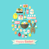 Easter Greeting Card with Flat Icons Egg shaped Stock Photo
