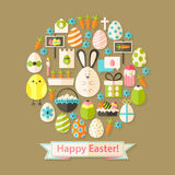 Easter Greeting Card with Flat Icons Set circular shaped Stock Images