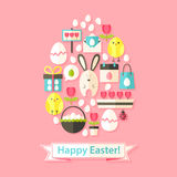 Easter Greeting Card with Flat Icons Set Egg shaped Stock Photography