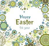 Easter greeting card with floral frame in heart Stock Images