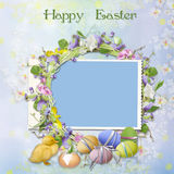 Easter greeting card with frame Stock Photography